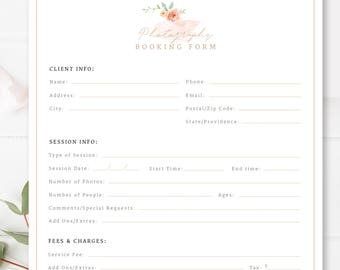 Client Booking Form For Photographers, Photography Contract, Templates for Photographers, INSTANT DOWNLOAD!