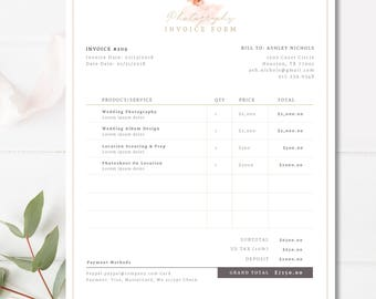 Invoice Template Etsy - Ms office invoice template