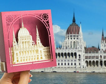 Pop up 3d Card, Országház, Budapest Hungarian Parliament, Hungary, Budapest Gifts, architecture paper scale models, kirigami miniature paper