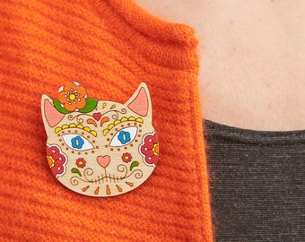 Sugar skull cat brooch, Sugar skull brooch, Day of the dead jewelry, Mexican brooch, Skull cat, Mexicana, Cat brooch, Day of the dead, Skull