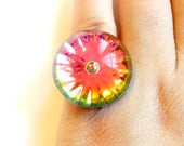 Vintage Domed Rainbow Ring - Adjustable Band - Lucite Plastic - Vitrail Watermelon Color Change - Faceted Starburst Ring - Bubble Ring