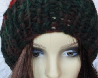 Hand Knitted Women's Dark Multicoloured Ribbed Winter Hat With A Cream Faux Fur Pompom - Free Shipping