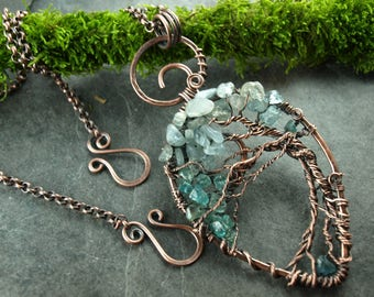 tree of life, copper, aquamarin, pendant