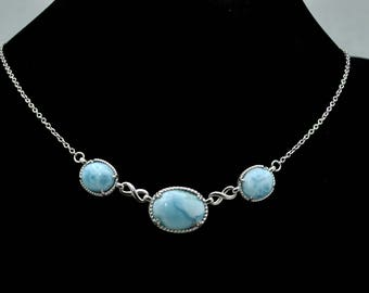 LARIMAR Necklace Large 18X13mm And Two 12X10mm Oval 925 STERLING SILVER