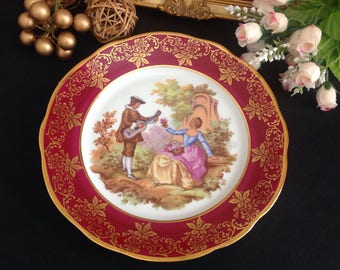Limoges Fragonard lovers  cabinet plate .