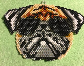 Hand Beaded Pug Wearing Shades  Pug  Necklace Pug Owners Pug Lovers Pug Jewelry Pug Earrings Valentine Pug Cool Pug