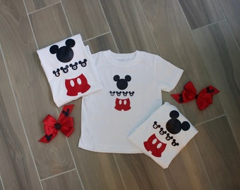 Personalized Family Coordinating Mickey/ Disney Inspired Matching Shirts with Bow
