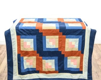 Vintage Mid Century Modern Color Block Quilt - FREE SHIPPING