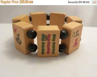 20% Off Sale Vintage Chunky Bakelite Mahjong Tile Bracelet
