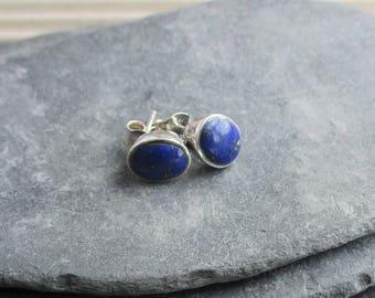 Vintage Silver Genuine Lapis Lazuli Earrings, 925 Silver, Blue Stone, Ear Studs, Woman, Teen, Valentines Gift.