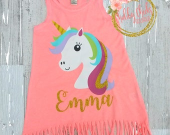 girls personalized fringe unicorn dress. fringe dress. unicorn outfit. vacation dress. birthday dress