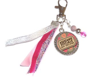 Jewelry bag Keychain shades of pink and silver message Assistant Social tearing