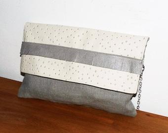 party/ceremony/shoulder bag leather/silver lamé linen ivory ostrich, fringes