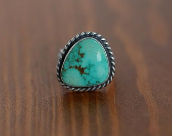 Carico Lake Turquoise Ring, Sterling Silver Ring -- US Size 6.25