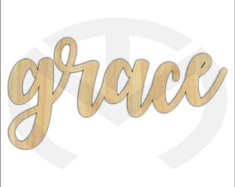 Unfinished Wood Calligraphy Script Word Grace Laser Cut, Smaller Sizes, Home Decor, Gallery Wall, Family Room, Farmhouse