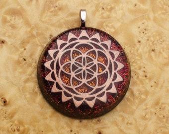 Desert Sun Flower of Life Sacred Geometry Meditation Mandala Red/Orange Soul-Antenna Crystal Ormus Orgone Energy Pendant Necklace 38mm