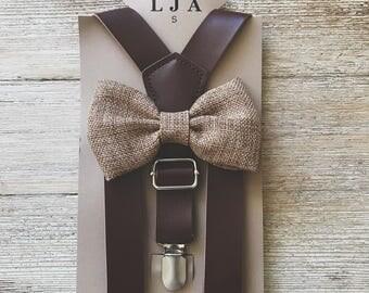 Honey brown burlap bow tie Groomsmen wedding Outfits Ring Bearer Outfit groomsmen bow tie and suspenders rustic wedding groomsmen clothes Ru