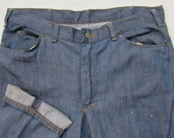 Vintage 1960s JCPenney RANCHCRAFT Half Selvedge Denim Jeans ~ 37 x 28.5 ~ Lightweight ~ Redline ~ Western ~ Talon Zipper ~ 36 38