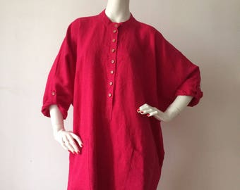 Linen onesize fuchsia maternity dress
