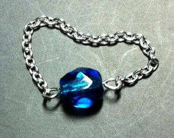 ring 925 sterling silver chain and Pearl capri blue