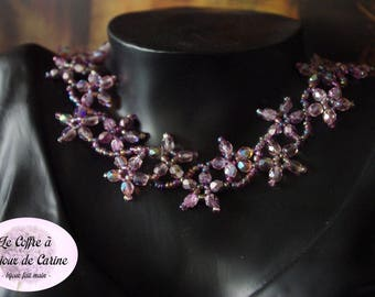 Flower purple and purple waterfall necklace