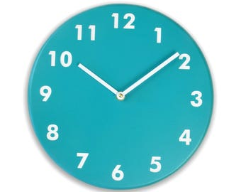 Dark teal clock. Modern wall clock. Simple clock. Numbers clock. Wood wall clock. Solid color on birch, engraved numbers.  CL4015