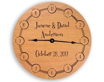 Wedding gift, gift for couples, anniversary gift, wedding clock, anniversary clock, personalized clock, custom clock, cherry clock, CL6004