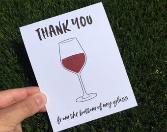 Thank You Card - Wine Card - Funny Wine Card - Funny Thank You Card - Wine lover - Hostess card