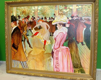 Moulin Rouge Oil Painting Toulouse Lautrec Style French Great For a Hotel Lobby or Mansion signed Renay Marince