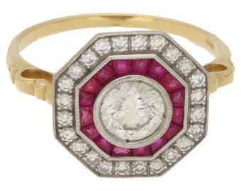 Deco Style Ruby Diamond Target Ring in Gold