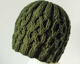 Forest Green Cabled Hat for Adults