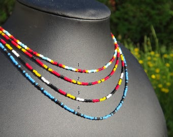 For Darren. Native American necklace. Seed beads necklace Native American traditional colors.