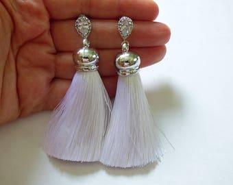 Diamond And White Cotton Tassel Earrings, Silver Tassel Earrings, Long Tassel Earrings, Bohemian Statement Earrings, Tassle Earrings