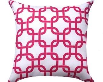 SALE Candy Pink and White Pillow Cover - Hot Pink Pillow - Pink and White Chain Link Accent Pillow - Gotcha Candy White Pillow Cover -Dorm P