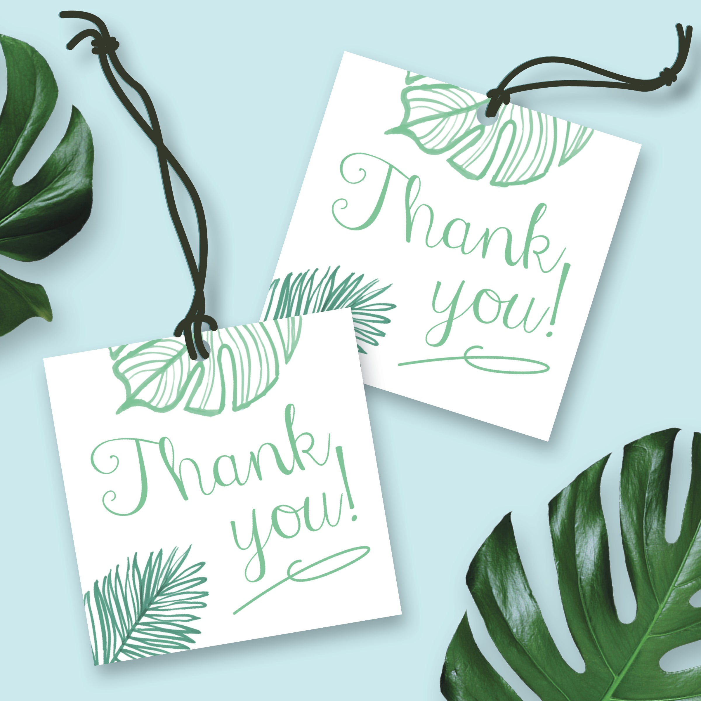 Thank You Tags, Tropical Leaves, Palm Leaf, Wedding Favors ...