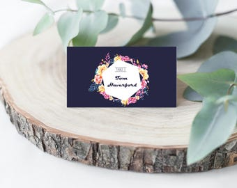 Navy Floral Wedding Place Card
