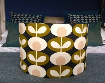 New! Gorgeous Drum Lampshade in Ashley Wilde Orla Kiely's Round Flower Large Print Fabric Ceiling Shade Table Lampshade