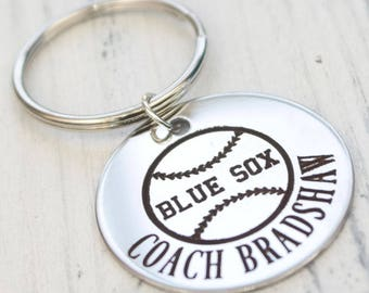 Baseball or Softball Team Player Personalized Engraved Key Chain