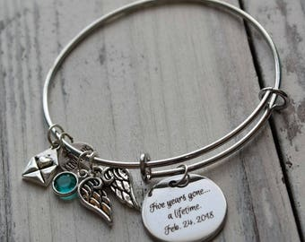 Memorial Angel Wings Personalized Wire Adjustable Bangle Bracelet