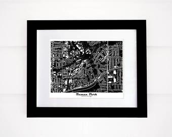 Inman Park! Atlanta Map Print, Black and White