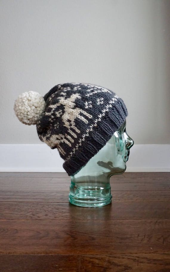 Knit Hat. Fair Isle Knit Hat. Fair Isle Moose. Women's