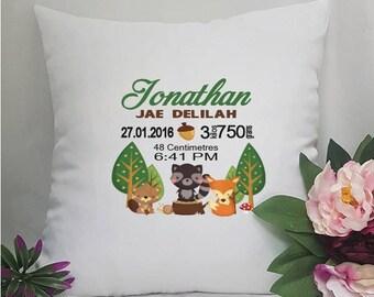 Birth Details Cushion Cover -Woodland