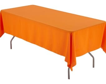 Great 60 X 126 Inch Rectangular Orange Tablecloth Polyester | Wedding Tablecloth