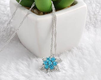 Silver Snowflake Necklace Charm Pendant Silver Plated Snowflake Christmas Winter