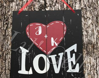 wedding gift,anniversary gift,wood sign,wooden signs,hanging wooden signs,custom wood sign,love sign,love sign wood,signs with initials,gift