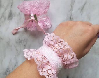 fairy kei wrist cuffs - pastel pink and white