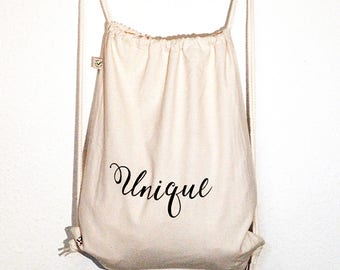 "Bio gymnastic bag ""unique"" (acid works) Fairtrade Cotton Earth Positive (customizable)"
