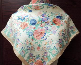 Vintage Liberty of London Silk Floral Scarf: Hip Retro Fashion Headscarf. Gold, Blue, Mint, Peach. Birthday, Valentine Gift. 27 inch SC-173