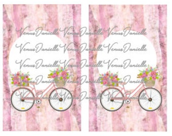 Digital~ Pink Bicycle Marble Pocket TN Printable Cover, Digital Cover, Pink Marble, TN Dashboard, Pocket tn, Bicycle Cover