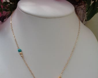 Gold necklace with turquoise, 585 gold filled, in an attractive design